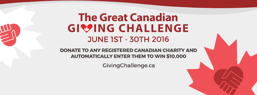 You can help us win $10,000! The Great Canadian Giving Challenge is here!