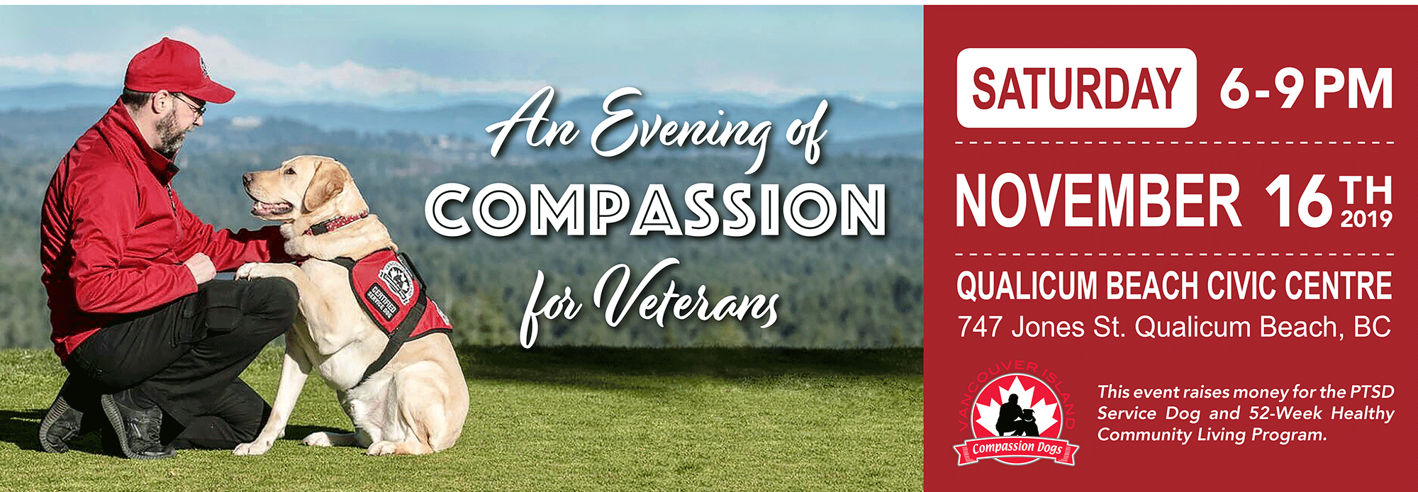 Join us for An Evening of Compassion for Veterans in support of our PTSD Service Dog Program