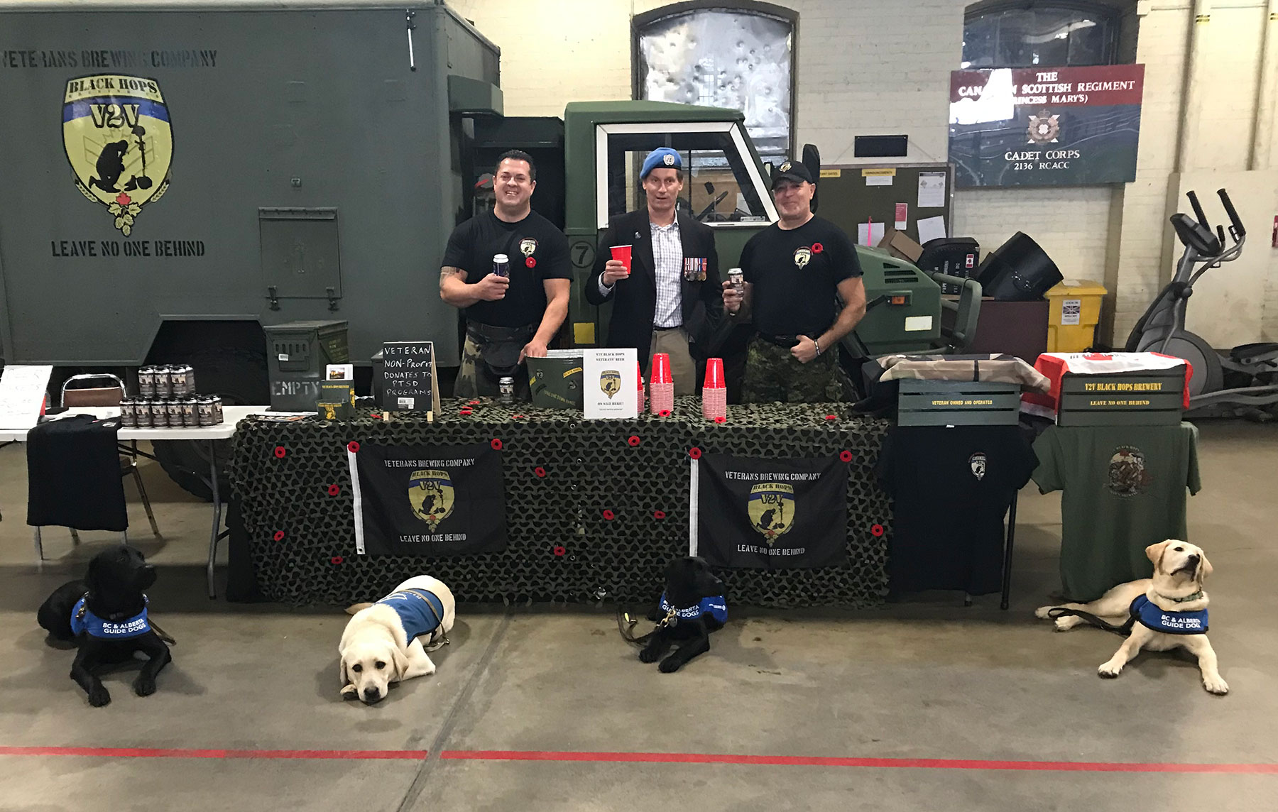 Sale proceeds from V2V Black Hops Brewing at the Remembrance Day Open House at the Armoury help support PTSD Service Dog Program