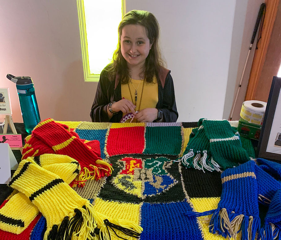 Laura raises money for Alberta Guide Dogs with handmade knitted items