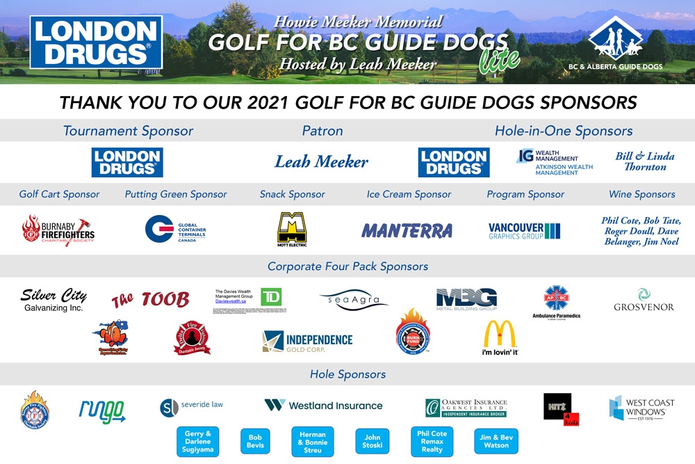 Thank you to our 2021 Golf for BC Guide Dogs Sponsors